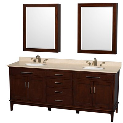 Hatton 80 Double Dark Chestnut Bathroom Vanity Set with Medicine Cabinet Top Finish: Ivory Marble, Faucet Mount: 8 Centers