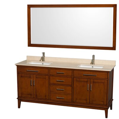 Hatton 72 Double Light Chestnut Bathroom Vanity Set with Mirror Top Finish: Ivory Marble, Faucet Mount: Single Hole
