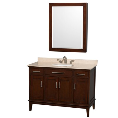 Hatton 48 Single Dark Chestnut Bathroom Vanity Set with Medicine Cabinet Top Finish: Ivory Marble, Faucet Mount: 8 Centers