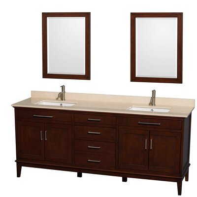 Hatton 80 Double Dark Chestnut Bathroom Vanity Set with Mirror Top Finish: Ivory Marble, Faucet Mount: Single Hole