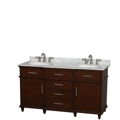 Berkeley 60 Double Bathroom Vanity Set Base Finish: Dark Chestnut, Top Finish: White Carrera