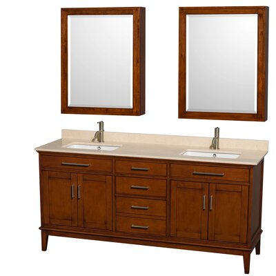 Hatton 72 Double Light Chestnut Bathroom Vanity Set with Medicine Cabinet Top Finish: Ivory Marble, Faucet Mount: Single Hole