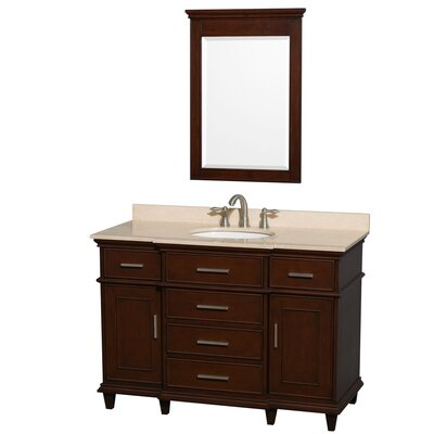 Berkeley 48 Single Dark Chestnut Bathroom Vanity Set with Mirror Top Finish: Ivory Marble