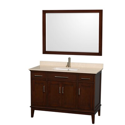 Hatton 48 Single Dark Chestnut Bathroom Vanity Set with Mirror Top Finish: Ivory Marble, Faucet Mount: Single Hole