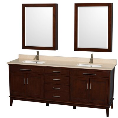 Hatton 80 Double Dark Chestnut Bathroom Vanity Set with Medicine Cabinet Top Finish: Ivory Marble, Faucet Mount: Single Hole