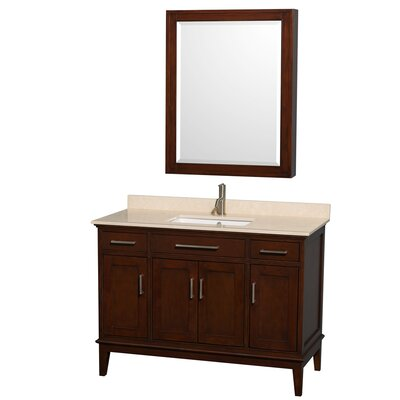 Hatton 48 Single Dark Chestnut Bathroom Vanity Set with Medicine Cabinet Top Finish: Ivory Marble, Faucet Mount: Single Hole