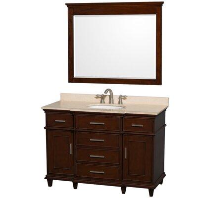 Berkeley 48 Single Dark Chestnut Bathroom Vanity Set with Mirror Top Finish: Ivory Marble