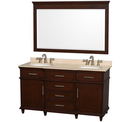 Berkeley 60 Double Dark Chestnut Bathroom Vanity Set with Mirror Top Finish: Ivory Marble