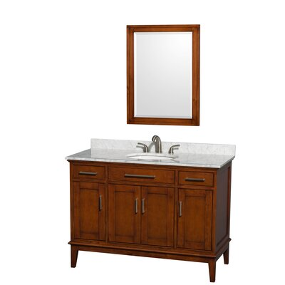 Hatton 48 Single Light Chestnut Bathroom Vanity Set with Mirror Top Finish: White Carrera Marble, Faucet Mount: 8 Centers