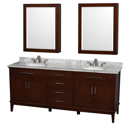 Hatton 80 Double Dark Chestnut Bathroom Vanity Set with Medicine Cabinet Top Finish: White Carrera Marble, Faucet Mount: 8 Centers