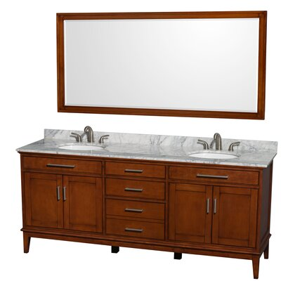 Hatton 80 Double Light Chestnut Bathroom Vanity Set with Mirror Top Finish: White Carrera Marble, Faucet Mount: 8 Centers