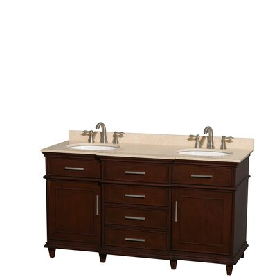 Berkeley 60 Double Bathroom Vanity Set Base Finish: Dark Chestnut, Top Finish: Ivory