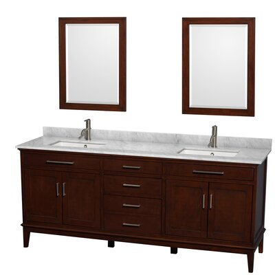 Hatton 80 Double Dark Chestnut Bathroom Vanity Set with Mirror Top Finish: White Carrera Marble, Faucet Mount: Single Hole