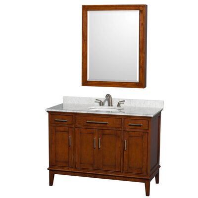 Hatton 48 Single Light Chestnut Bathroom Vanity Set with Medicine Cabinet Top Finish: White Carrera Marble, Faucet Mount: 8 Centers