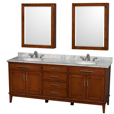 Hatton 80 Double Light Chestnut Bathroom Vanity Set with Medicine Cabinet Top Finish: White Carrera Marble, Faucet Mount: 8 Centers
