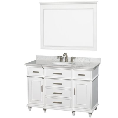 Berkeley 48 Single White Bathroom Vanity Set with Mirror Top Finish: White Carrera Marble
