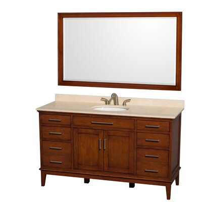 Hatton 60 Single Light Chestnut Bathroom Vanity Set with Mirror Top Finish: Ivory Marble, Faucet Mount: 8 Centers