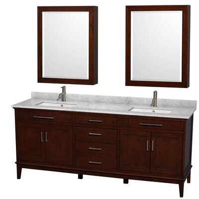 Hatton 80 Double Dark Chestnut Bathroom Vanity Set with Medicine Cabinet Top Finish: White Carrera Marble, Faucet Mount: Single Hole