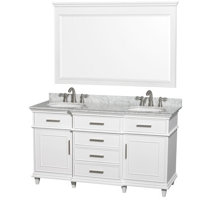 Berkeley 60 Double White Bathroom Vanity Set with Mirror Top Finish: White Carrera Marble