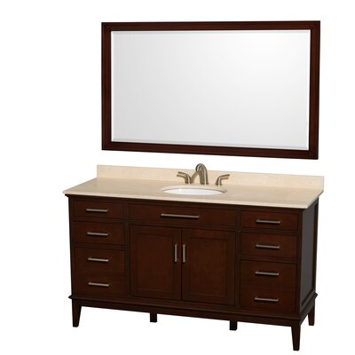 Hatton 60 Single Dark Chestnut Bathroom Vanity Set with Mirror Top Finish: Ivory Marble, Faucet Mount: 8 Centers
