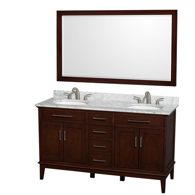 Hatton 60 Double Dark Chestnut Bathroom Vanity Set with Mirror Top Finish: White Carrera Marble, Faucet Mount: 8 Centers