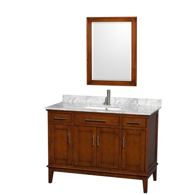 Hatton 48 Single Light Chestnut Bathroom Vanity Set with Mirror Top Finish: White Carrera Marble, Faucet Mount: Single Hole