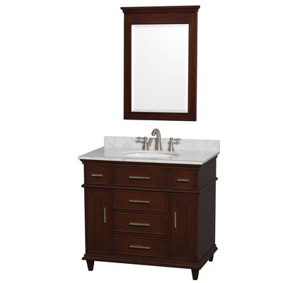 Berkeley 36 Single Dark Chestnut Bathroom Vanity Set with Mirror Top Finish: White Carrera Marble
