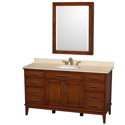 Hatton 60 Single Light Chestnut Bathroom Vanity Set with Medicine Cabinet Top Finish: Ivory Marble, Faucet Mount: 8 Centers