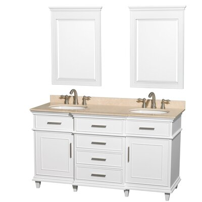 Berkeley Double Vanity Set Base Finish: White, Top Finish: Ivory