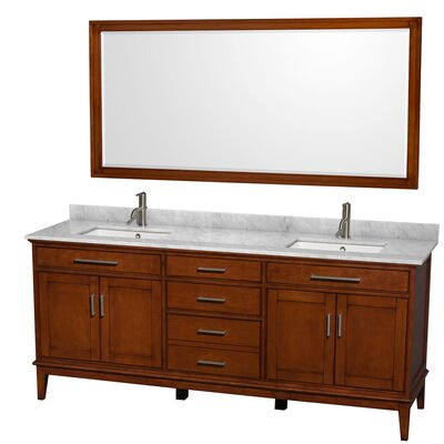 Hatton 80 Double Light Chestnut Bathroom Vanity Set with Mirror Top Finish: White Carrera Marble, Faucet Mount: Single Hole