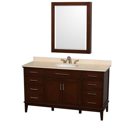 Hatton 60 Single Dark Chestnut Bathroom Vanity Set with Medicine Cabinet Top Finish: Ivory Marble, Faucet Mount: 8 Centers