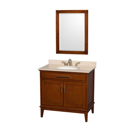 Hatton 36 Single Light Chestnut Bathroom Vanity Set with Mirror Top Finish: Ivory Marble, Faucet Mount: 8 Centers