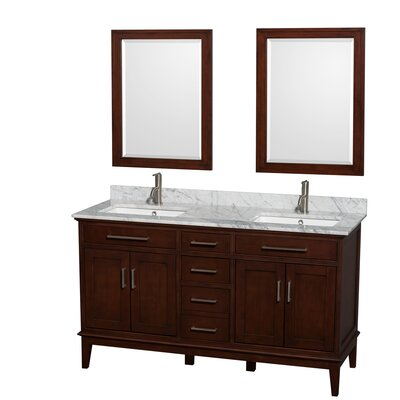 Hatton 60 Double Dark Chestnut Bathroom Vanity Set with Mirror Top Finish: White Carrera Marble, Faucet Mount: Single Hole