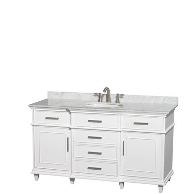 Berkeley 60 Single Bathroom Vanity Set Base Finish: White, Top Finish: White Carrera