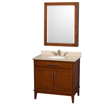 Hatton 36 Single Light Chestnut Bathroom Vanity Set with Medicine Cabinet Top Finish: Ivory Marble, Faucet Mount: 8 Centers