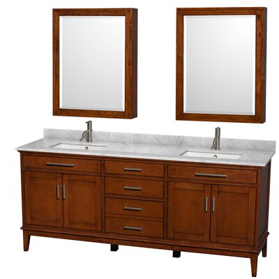 Hatton 80 Double Light Chestnut Bathroom Vanity Set with Medicine Cabinet Top Finish: White Carrera Marble, Faucet Mount: Single Hole