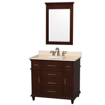 Berkeley 36 Single Dark Chestnut Bathroom Vanity Set with Mirror Top Finish: Ivory Marble