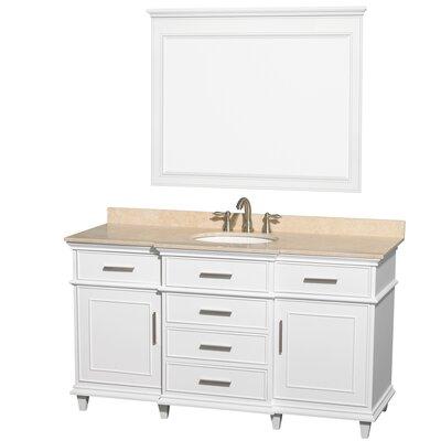 Berkeley 60 Single White Bathroom Vanity Set with Mirror Top Finish: Ivory Marble