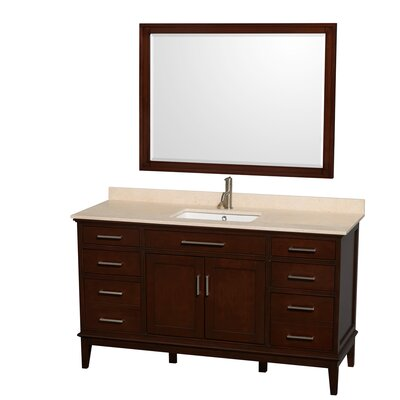 Hatton 60 Single Dark Chestnut Bathroom Vanity Set with Mirror Top Finish: Ivory Marble, Faucet Mount: Single Hole