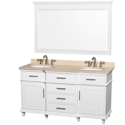 Berkeley 60 Double White Bathroom Vanity Set with Mirror Top Finish: Ivory Marble