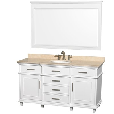 Berkeley 60 Single White Bathroom Vanity Set with Mirror Top Finish: Ivory Marble