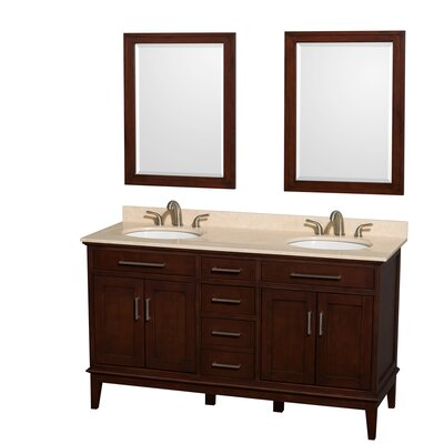 Hatton 60 Double Dark Chestnut Bathroom Vanity Set with Mirror Top Finish: Ivory Marble, Faucet Mount: 8 Centers