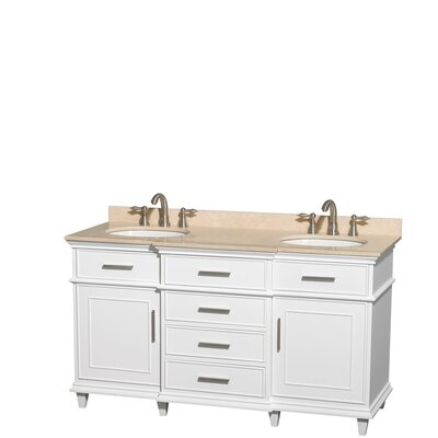 Berkeley 60 Double Bathroom Vanity Set Top Finish: Ivory, Base Finish: White