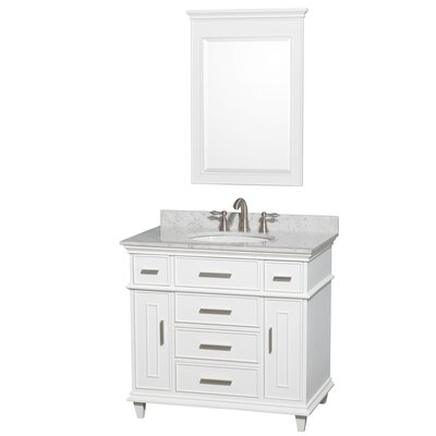 Berkeley 36 Single White Bathroom Vanity Set with Mirror Top Finish: White Carrera Marble