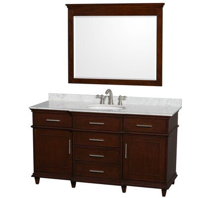 Berkeley 60 Single Dark Chestnut Bathroom Vanity Set with Mirror Top Finish: White Carrera Marble
