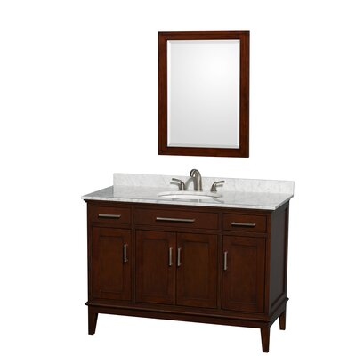 Hatton 48 Single Dark Chestnut Bathroom Vanity Set with Mirror Top Finish: White Carrera Marble, Faucet Mount: 8 Centers