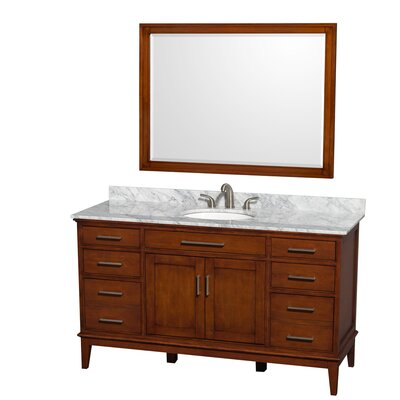 Hatton 60 Single Light Chestnut Bathroom Vanity Set with Mirror Top Finish: White Carrera Marble, Faucet Mount: 8 Centers
