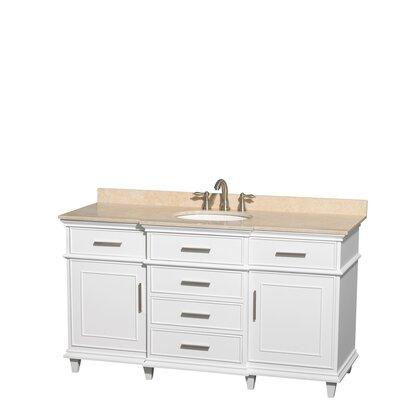 Berkeley 60 Single Bathroom Vanity Set Base Finish: White, Top Finish: Ivory