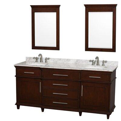 Berkeley 72 Double Dark Chestnut Bathroom Vanity Set with Mirror Top Finish: White Carrera Marble