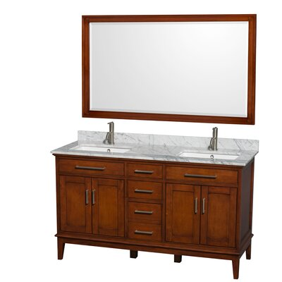 Hatton 60 Double Light Chestnut Bathroom Vanity Set with Mirror Top Finish: White Carrera Marble, Faucet Mount: Single Hole